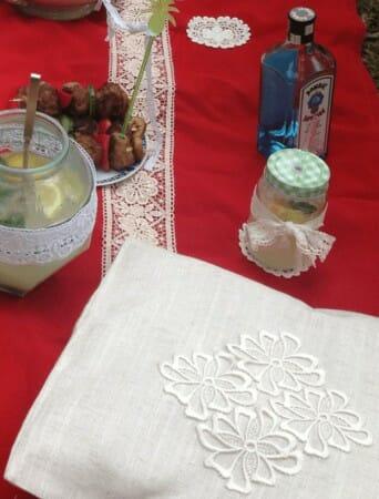 picknick Spitze Kissen verzierung dekorieren DIY Flaschenuntersetzer