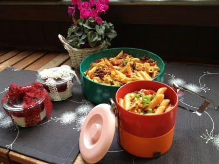 Modespitze-Plauen-Tischsets-Platzsets-gestickt-Nudelsalat-Pasta- Chili-Melamin-Transportdose