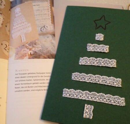 Weihnachtskarten DIY mit Spitze