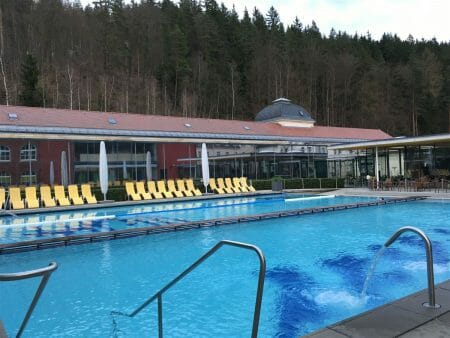 Blick auf den Außenbereich im König Albert Bad in Bad Elster