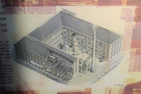 Blick auf das ursprüngliche Boulard-Werk mit der gemeinsam genutzten Dampfmaschine - Spitzenmuseum Calais